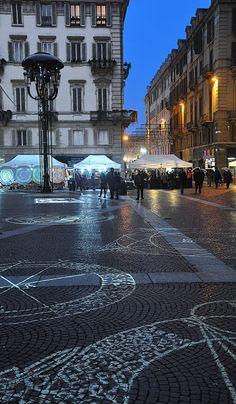 Christmas Light At Piazza Carignano, Torino Piemonte