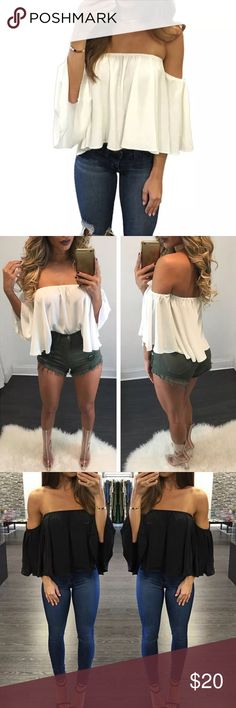 ✨COMING SOON✨ Chiffon Kimono Blouse Chiffon kimono off the shoulder blouse. Fabric: polyester. Size S, M, and L available. NWT. ✨Please comment below if you would like to be notified when this item arrives.✨ Tops Blouses