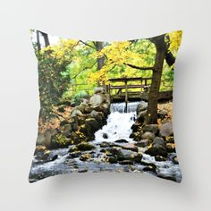 #nature #waterfall #photography #autumn #pillow available in different #homedecor products. Check more at society6.com/julianarw