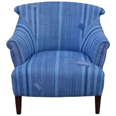 Antique Indigo Fabric Club Chair | From a unique collection of antique and modern chairs at http://www.1stdibs.com/furniture/seating/chairs/