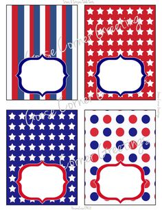 Printable Instant Download Stars and Stripes Food Labels/Table Tents,red, White and Blue, 4th of july, birthday party, shower etc.