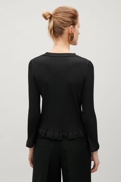 2fda360d3978 COS image 3 of Ribbed top with frill edges in Black