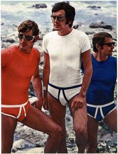 """""""REAL Men Always go to the Beach in their HANES Underwear"""", uhmm, okay? Men's Underwear, Vintage Underwear, Men's Undies, Look Vintage, Vintage Mode, Funny Vintage, Ropa Interior Vintage, 70s Fashion, Vintage Fashion"""