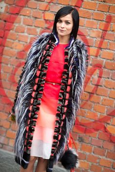 Leigh Lezark in a colorful Fendi look...#MFWd