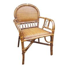 Beautiful and very nice woven work on this very attractive vintage mid century rattan and bamboo armchair. Bamboo Dining Chairs, Outdoor Chairs, Cheap Chairs, Wood Arm Chair, Chair Price, Rattan Furniture, Hollywood Regency, Side Chairs, Wicker