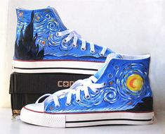 Van Gogh Painted Custom Converse Sneakers Hand Painted, 100% hand painted- 100% New Shoes About Cconverse Size: (Unisex Adults) Please choose size by checking our size conversion chart carefully. If you have a different design idea, please contact me and send me the pictures, i will give y...