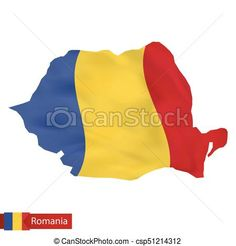Romania map with waving flag of Romania. Vector - stock illustration, royalty free illustrations, stock clip art icon, stock clipart icons, logo, line art, EPS picture, pictures, graphic, graphics, drawing, drawings, vector image, artwork, EPS vector art
