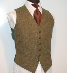 Vintage Brioni Mens Hunter Green Flecked Donegal Vest
