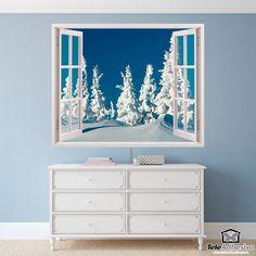 Vinilos Decorativos: Bosque nevado. La ventana es parte del vinilo. Decorar escaparate tienda. #escaparate #decorar #navidad #vinilo #cristal #nieve #tienda #bar #restaurante #TeleAdhesivo