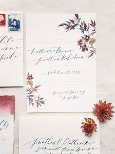 6 Watercolor Wedding Invitations with Flowers : Brides
