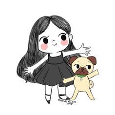 Momo & me 💕 Pugs, Pug Cartoon, Willy Wonka, Pug Love, Fur Babies, Maya, Dog Lovers, Hello Kitty, Puppies