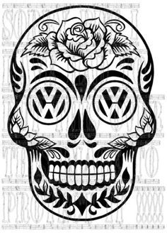 VW Sugar Skull art, XBrosApparel Vintage Motor T-shirts, VW Beetle & Bus T-shirts, Great price Vw Caravan, T5 Camper, Sugar Skull Design, Sugar Skull Art, Vw Bus, Beetle Bug, Vw Beetles, Vw Tattoo, Sugar Candy Skulls