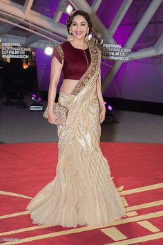 Madhuri Dixit Net Saree with Velvet Blouse Walked the Red Carpet at the Marrakech Film Festival