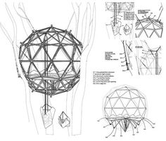 Fascinating plan and sketches for a geodesic treehouse.