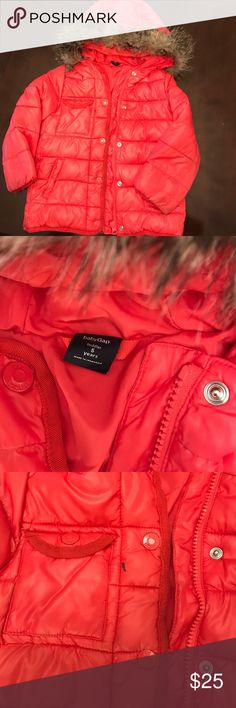 Gap winter coat girls 5 years Bright red color slight mark on pocket ..gently worn GAP Jackets & Coats Puffers