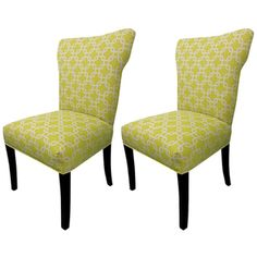 @Overstock - This set of two fashionable green wing-back chairs will make a bold statement in any living room, dining room, or lounge. The concave chairs' white-and-citrus geometric upholstery and curved espresso legs give them a whimsical appearance.http://www.overstock.com/Home-Garden/Bella-Citrus-Wing-Back-Chairs-Set-of-2/6702927/product.html?CID=214117 $220.99