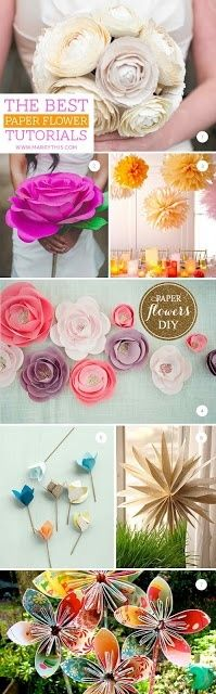 DIY Best Paper Flower Tutorials. I want my bridesmaids to make their own bouquets! It'd be cute and cheap and they'd all be neat and different!