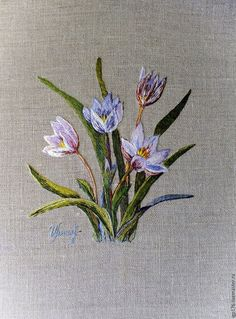 """""""Crocuses"""" art surface - buy or order in an online shop on Livemaster - Novorossiysk Hand Embroidery Stitches, Embroidery Hoop Art, Hand Embroidery Designs, Machine Embroidery, Lace Beadwork, Thread Painting, Brazilian Embroidery, Japanese Embroidery, Sewing Art"""