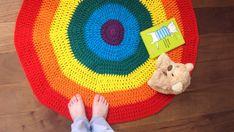 Rainbow play mat Waldorf crochet rug Montessori by Yaguarete, $80.00