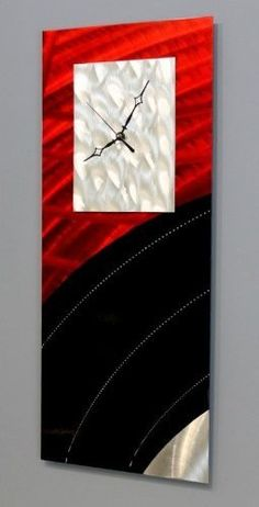 Unique Modern Black Silver  Red Jewel Toned Abstract Metallic Wall Clock  Contemporary TimePiece Home Accent  Functional Metal Art  Power On Clock By Jon Allen  24inch *** Visit the image link more details.