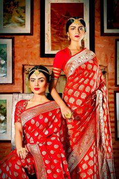 Bridal Banarasi silk saree. Red lips. Maang tikka.