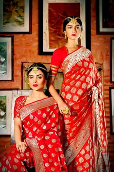 Bridal Banarasi silk saree. Red lips. Maang tikka.