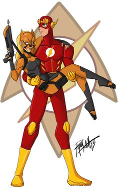 kid flash,cause he died the other guy became him but artemis wanted to be tigress as artemks was another memory of wallie(original kid flash) Young Justice Wally, Spitfire Young Justice, Young Justice League, Wally West And Artemis, Artemis Crock, Dc Couples, Kid Flash, Dc Heroes, Nightwing