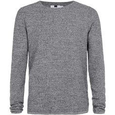 TOPMAN Grey and Black Twist Gridstitch Jumper ($39) ❤ liked on Polyvore featuring men's fashion, men's clothing, men's sweaters, mid grey, mens cotton sweaters, mens grey sweater, mens slim fit sweater, mens gray sweater and mens crewneck sweaters