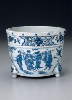 Incense burner with decoration of the Eight Immortals venerating the god of longevity, Ming dynasty, Longqing period, dated 1571. Jingdezhen ware; porcelain with underglaze blue decoration. Overall: 15 cm (5 7/8 in.) Other (diameter of mouth): 20 cm (7 7/8 in.). Gift of Mr. and Mrs. F. Gordon Morrill, 1979.783 © 2018 Museum of Fine Arts, Boston