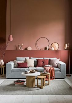 Living room furniture, Apricot wall color, gray sofa, small table and stool . - Decoration is My Job Room Paint Colors, Paint Colors For Living Room, Living Room Grey, Living Room Furniture, Living Room Decor, Wall Colors, Living Rooms, Deco Rose, Colorful Interiors