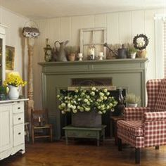 Mantel Magic    *Set your fireplace for spring with rustic accents, including distressed flowerpots, antique metal containers and weathered garden edging, layered along the mantel.    * Make a bold statement in front of the hearth with a big galvanized boiler filled with fragrant blossoms.    * Crown a towering pillar with a decorative birdhouse to draw attention to a formerly empty corner.  This room was featured in the March 2005 issue of Country Sampler Magazine.