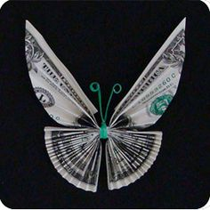 How To Fold Origami Money Butterfly Oragami Money, Money Lei, Butterfly Tree, Origami Butterfly, Monarch Butterfly, Butterflies, Creative Money Gifts, Money Gifting, Origami Insects