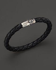 0310fcae5ccdd John Hardy Men s Bamboo Silver Black Woven Leather Bracelet Bracelets For  Men