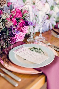 Gorgeous place setting with pops of purple #decor Photography: Bradley James Photography - bradleyjamesphotography.com  Read More: http://www.stylemepretty.com/2014/08/25/rustic-elegance-wedding-inspiration/