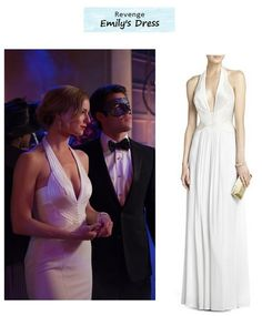 "Emily VanCamp as Emily Thorne in Revenge - ""Masquerade"" (Ep. Emily's fitted gown is a similar style to the flowy BCBG version above. The halter top and back portions are nearly identical. Fashion Tv, Star Fashion, Unique Fashion, Fashion Outfits, Bond Girl Dresses, Revenge Fashion, Evening Dresses, Prom Dresses, Emily Vancamp"