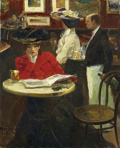 """Louis Abel-Truchet (French, - """"Le Lapin Agile, Montmartre"""" - Oil on canvas Reading Art, Woman Reading, Reading Books, Cafe Concert, People Reading, Cafe Art, Photo Images, Art Uk, Oeuvre D'art"""