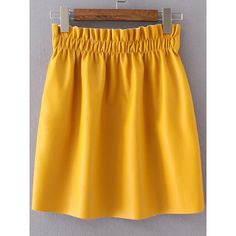 SheIn(sheinside) Yellow Elastic Waist PU Skirt ($17) ❤ liked on Polyvore featuring skirts, shein, elastic waist a line skirt, pu skirt, yellow skirts, a-line skirts and knee length a line skirt