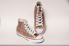 80ed91aa13c8 Kids - Youth - Champagne Gold Sequin Converse® Canvas Hi Tops Sneakers  Tennis Shoes by