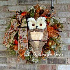 Deco Mesh Fall Owl Wreath, Sissel Owl Wreath, Autumn Wreath, Fall Wreath, Owl Decoration, Burlap Wreath, Welcome Wreath, Front Door Wreath by TheWhimzeeDoor on Etsy