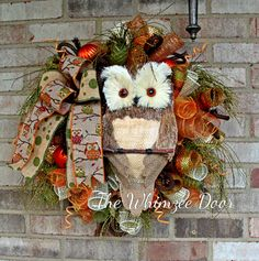 Deco Mesh Fall Owl Wreath, Sissel Owl Wreath, Autumn Wreath, Fall Wreath, Owl Decoration, Burlap Wreath, Welcome Wreath, Front Door Wreath by TheWhimzeeDoor on Etsy