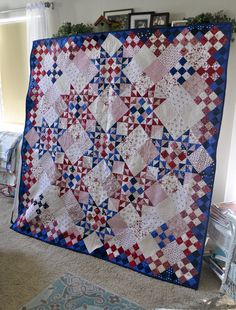 Very pretty red white and blue quilt!