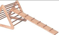 RIE Furniture for climbing and playing. This is reversible ramp. Smooth on one side and with rungs on the other.