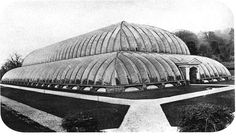 """The Great Stove [Great Conservatory], Chatsworth, designed by Joseph Paxton. Constructed 1836-40. 227 feet long, 123 feet wide, and 67 feet high. """"Photographed before its destruction in May 1920"""""""