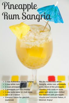 Who doesn't love pineapple and coconut flavors on a hot summer day? The rum and Authentica sangria adds just the right amount of booze to this lush drink. Sangria Recipes With Rum, Sangria Mix, Sangria Cocktail, Summer Sangria, White Sangria, Cocktail Recipes, Soda Cup, Pineapple Rum, Lush