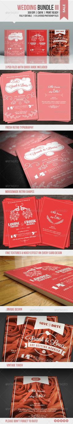 Wedding Bundle Card Print Template PSD | More Info: http://graphicriver.net/item/wedding-bundle-iii/7785419?WT.ac=category_thumb&WT.z_author=lavie1blonde&ref=ksioks
