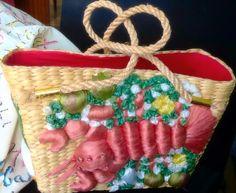 Rock Lobster! Fab woven straw handbag, $18.50 SOLD