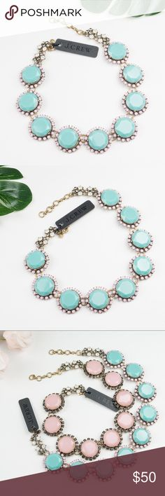 """J.Crew NINE-STONE CRYSTAL NECKLACE Blue Brand new  Make a bold statement with pretty ice-cream-colored stones and a trace of crystals. * Zinc, epoxy, glass. * Import. * Item A8995. Length: 16 1/4"""" with a 2 1/4"""" extender chain for adjustable length. J. Crew Jewelry Necklaces"""