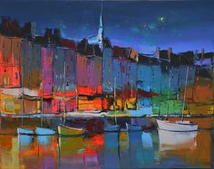 painting by Eric Le Pape (Nuit sur Honfleur) Abstract Landscape, Landscape Paintings, Abstract Art, Eric Le Pape, Mediterranean Paintings, Boat Painting, Paintings I Love, French Art, Painting Inspiration