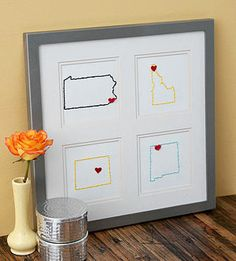 Three states embroidered with hearts of where we've lived.