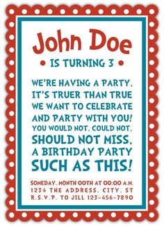 Dr Seuss Party - Invitation